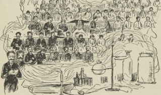 Drawing of young men in a lab classroom