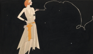 Full-length illustration of a fashionably dressed flapper standing with one hand on her hip and a cigarette in the other hand. A stream of smoke from the cigarette forms a curving, twisting, decorative line.