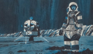 Illustration with spaceship on left, astronaut on right