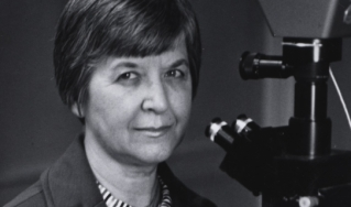 Stephanie Kwolek at a polarizing microscope.