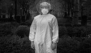 A nurse in a mask