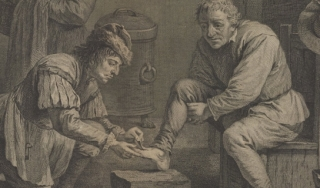 black and white engraving of a domestic scene