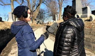 Podcast team records at Laurel Hill Cemetery