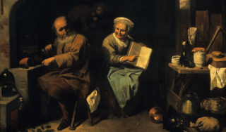 The Alchemist and His Wife, ca. 1928, by Jacques Hammerer, after 17th-century original by David Ryckaert III.