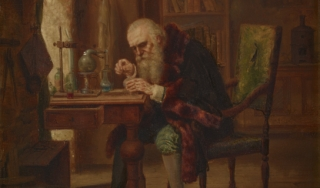 A bearded, elderly alchemist in a fur-trimmed coat leans close over a tabletop experiment