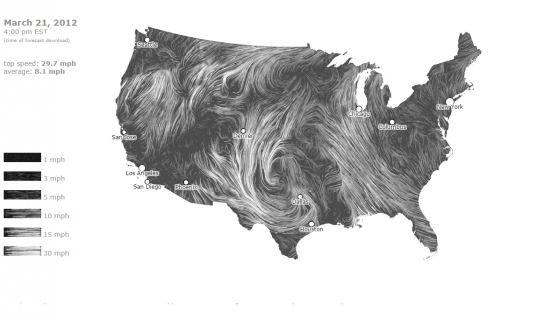 Wind Map, created by Fernanda Viégas and Martin Wattenberg
