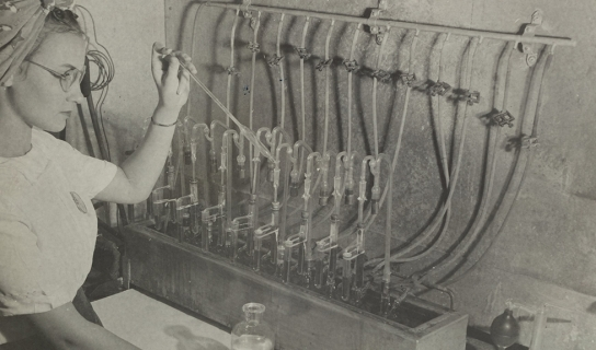 Woman in laboratory at Hercules Hopewell plant