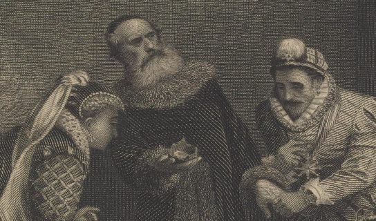 Engraving of alchemist and royalty