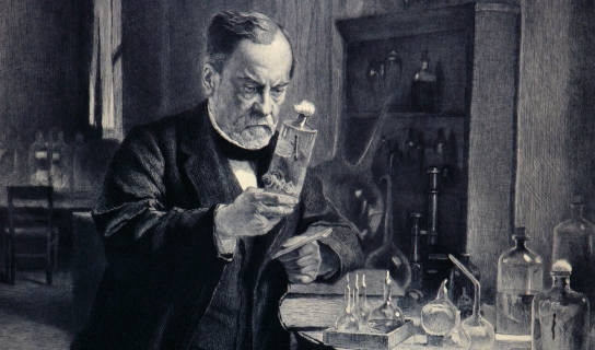 Louis Pasteur pursuing a rabies vaccine in this etching by Léopold Flameng.