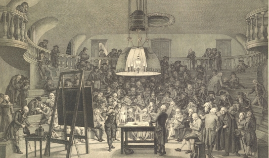 Engraving of Felix Meritis Society gathering, 1800s