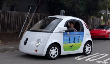 A Google self-driving car on the streets of Mountain View, California, 2016.