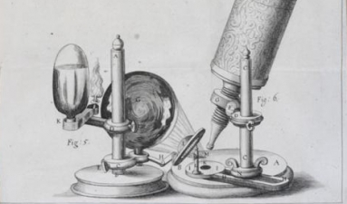 """Image of microscope from Robert Hooke's """"Micrographia : or, Some physiological descriptions of minute bodies made by magnifying glasses,"""" 1665."""