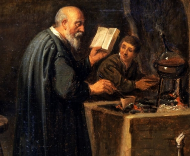 The Bald-Headed Alchemist, after David Teniers II, 17th century, oil on panel. Gift of Fisher Scientific International.