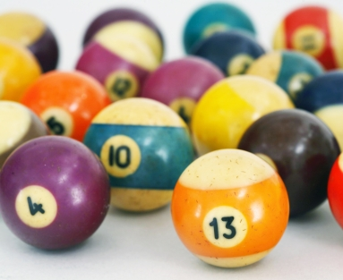 Set of 19th-century Hyatt billiard balls