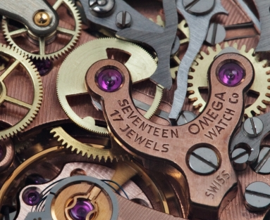 The 17-jewel movement of a 1967 Omega Moon watch.