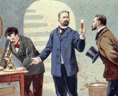 Pasteur studying the diseases of wine in 1863.