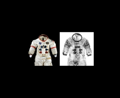 Photograph and X-ray of the space suit worn by Alan Shepard during the Apollo 14 mission. (Photo by Mark Avino/Smithsonian's National Air and Space Museum; X-ray by Roland H. Cunningham and Mark Avino)