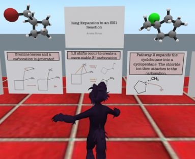 Students solve chemical problems and take quizzes in Second Life