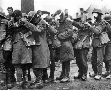 British troops blinded by tear gas at the Battle of Estaires