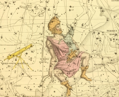 An 1822 star map by Alexander Jamieson shows the constellation Telescopium Herschelii, depicted here, ironically, as a refracting telescope.