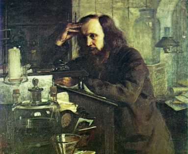 Dmitri Mendeleev at the Working Desk.