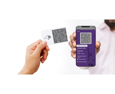 Mock-up photo of a cellphone displaying a QR code