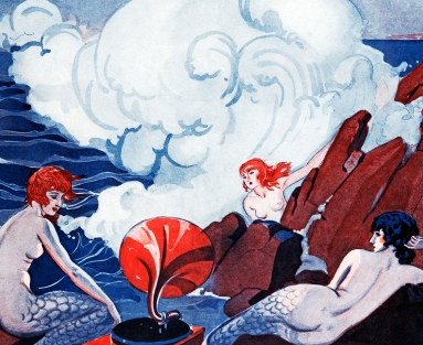 Illustration of sirens on rocks with phonograph