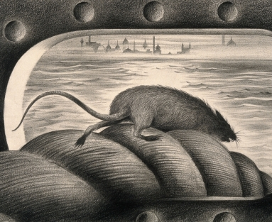 Illustration of rat climbing down a ship's mooring rope with a city in the distance