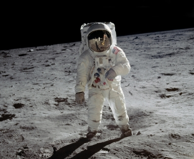 Buzz Aldrin walks on the surface of the moon during the Apollo 11 mission. (NASA)