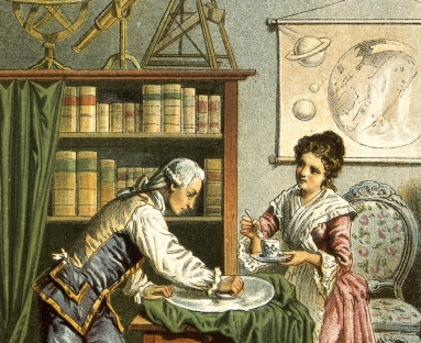 Painting of William and Caroline Herschel standing in a study, surrounded by star charts and telescopes