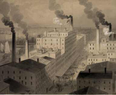 Illustration of factories on the Hudson River in New York City, 1870s