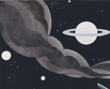 Drawing of outer space and planets from an advertisement from the Hercules Powder Company
