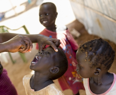 Vaccinating for polio in South Sudan, 2014.