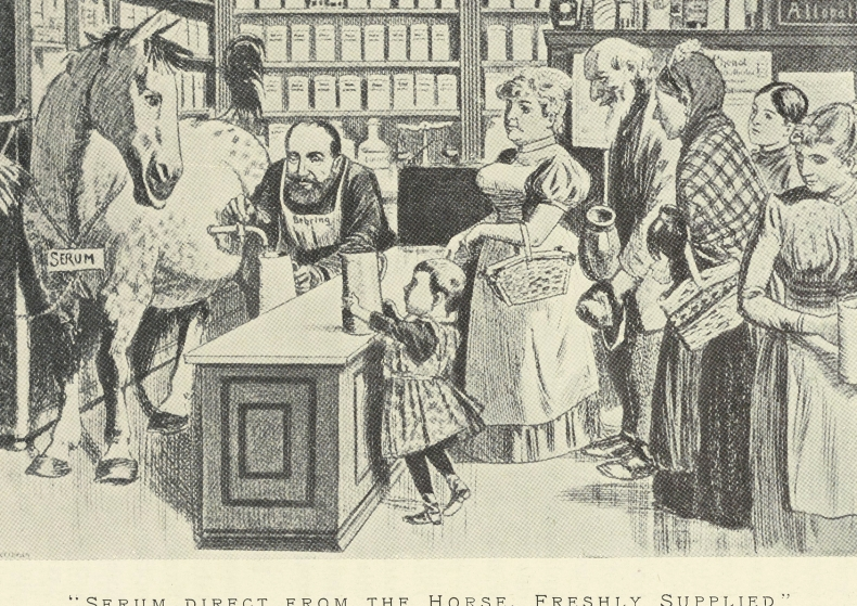 Illustration of tapping serum from a horse in a pharmacy