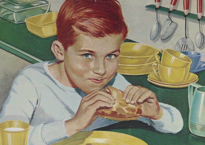 Advertisement of a child eating