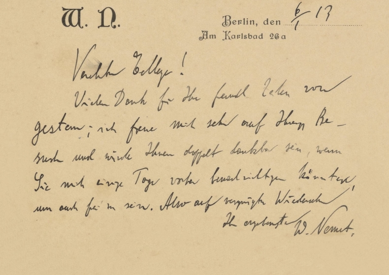 Postcard from Walther Nernst to Georg Bredig