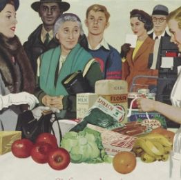 Print ad for Dow depicting woman buying groceries, 1952