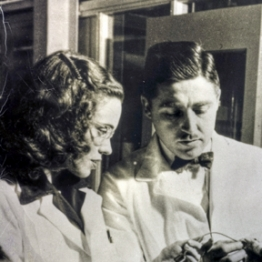 Helen and Alfred Free at the Miles-Ames Research Laboratory in 1948. The Frees developed the first dip-and-read test strip while at Miles Laboratories, now Bayer.