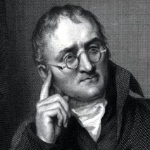 John Dalton, F.R.S., engraved by William Henry Worthington after an 1814 painting by William Allen, published June 25, 1823, in Manchester and London. Note the charts with Dalton's atomic symbols lying on the table.