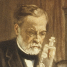 Louis Pasteur in his laboratory, holding a jar containing the spinal cord of a rabbit infected with rabies, which he used to develop a vaccine against the disease.