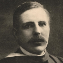 Ernest Rutherford in academic garb.