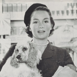 Dow ad, woman holding Cocker Spaniel and grocery bag with dog food cans