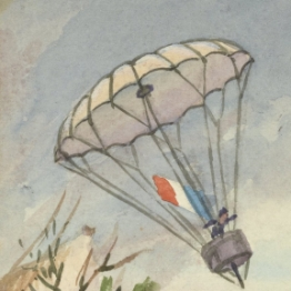 Postcard showing illustration of Andre-Jacques Garnerin's parachute 1909