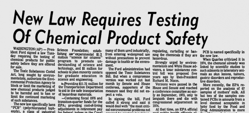 """New Law Requires Testing of Chemical Product Safety,\"" The Herald-Journal, October 30, 1976"