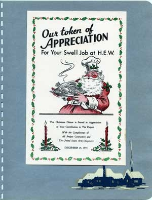 An invitation to Hanford's employee Christmas dinner, 1944.