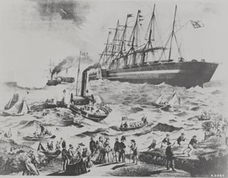 Landing the first successful cable at Newfoundland in 1866