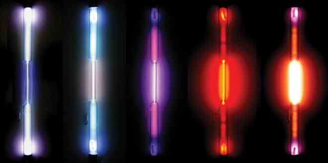 Gas discharge tubes showing the colors produced by different noble gases.