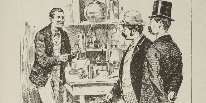 Sherlock Holmes discovers a chemical test for blood in A Study in Scarlet. (Oxnard Public Library, Oxnard, CA)