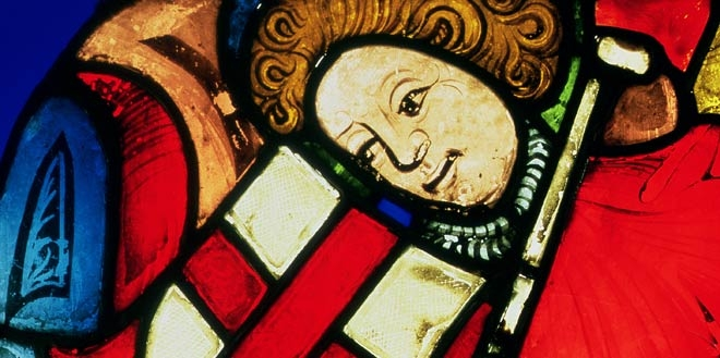 Detail of a European stained glass image of St. George from the early 15th century.
