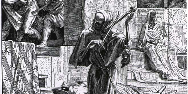 A 19th century German artist's conception of cholera as personified by death.